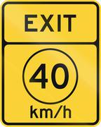 United States MUTCD road sign - Exit with advisory speed limit Stock Illustration