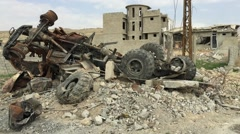 Destroyed ISIS truck Stock Footage