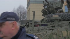 Nato Forses Training Poland Man's Face Policeman in Cap Turning His Head Stock Footage