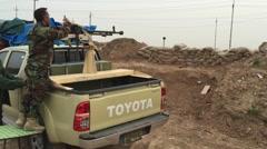 Peshmerga with Doshka gun Stock Footage