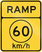 United States MUTCD road sign - Ramp with advisory speed limit - stock illustration