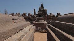 Ancient temple of Mahabalipuram view from Outside between the stone walls Stock Footage