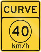 United States MUTCD road sign - Curve with advisory speed limit - stock illustration