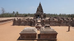 Ancient temple of Mahabalipuram view from Outside with stone cows & stone walls Stock Footage