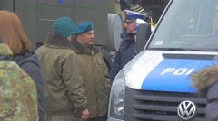 Soldiers Police Minibus Opole Atlantic Resolve Operation Nato Soldiers in Blue Stock Footage
