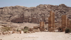 The colonnade street in Petra Stock Footage