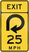United States MUTCD road sign - Exit with advisory speed limit - stock illustration