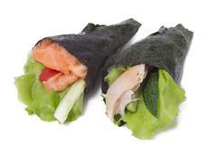 Various kinds of sushi and sashimi - stock photo