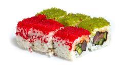 Various kinds of sushi and sashimi Stock Photos