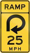 United States MUTCD road sign - Ramp with advisory speed limit Stock Illustration