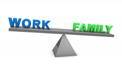 Work and family balance seesaw animation Stock Footage