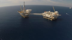 AERIAL: Offshore Oil Rigs in California  Stock Footage