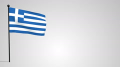 Greece flag weaving in the wind on a pole Stock Footage