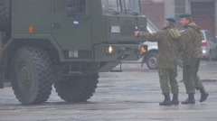 Soldiers Near Vehicle Opole Nato Atlantic Resolve Operation Man Points Stock Footage