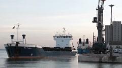 Ship set sail at dusk - Time-lapse Stock Footage