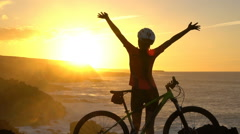 Happy Cyclist Mountain Biking Woman Raising Hands - Fitness Exercise Close up Stock Footage