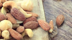 Portion of mixed Nuts (not loopable 4K footage) Stock Footage