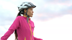 Female Cyclist Standing With Bicycle On Beach - Portrait Of Sporty Woman Stock Footage