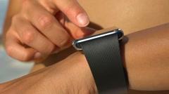 Smartwatch On Woman On Beach - Smart Watch Wearable Technology Stock Footage