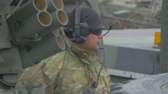 Nato Soldier Behind the Vehicle Atlantic Resolve Operation in Opole Poland Man Stock Footage