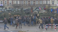 Peope Watching the Vehicles at Parade Nato Operation in Opole Poland Soldiers Stock Footage