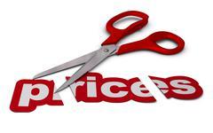 reducing prices, price cutting - stock illustration