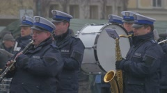 Orchestra at Ceremonial Meeting Opole Poland Atlantic Resolve Operation the Stock Footage