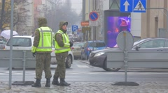 Two Militaries Opole Square Atlantic Resolve Operation Soldiers in a Uniform on Stock Footage