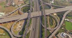 City highway with interchange bridge road Stock Footage