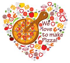 We love to make pizza - stock illustration