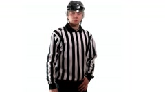 Portrait of hockey judge Isolated on white - stock footage