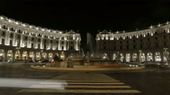 Italy Rome Piazza Republica night time lapse Stock Footage
