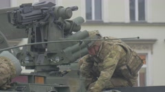 Soldier on Panzer Turret Opole Resolve Operation People Are Watching the Parade Stock Footage