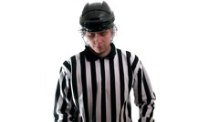 Hockey referee hold a puck in his palm Stock Footage