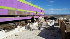 Wool sorting sheep shearing spring farm 4K Stock Footage
