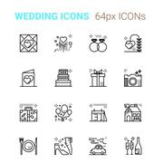 Wedding pixel perfect icons Stock Illustration