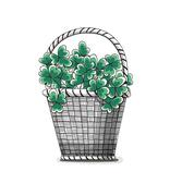 Basket with clovers - stock illustration