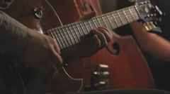 Jazz guitar trio playing on stage - stock footage
