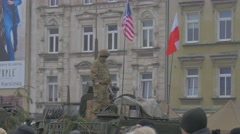 Nato Soldier on Miltary Vehicle Opole Poland Resolve Operation Flags Are Waving Stock Footage