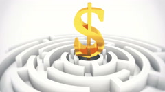4k dollar symbol in center of maze,rotating labyrinth,business background. Stock Footage