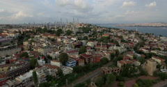 Drone shot of Blue Mosque amidst cityscape, Istanbul, Turkey Stock Footage