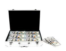 Suitcase of money with hundred dollar on white  background Stock Photos