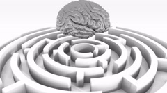 4k silver brain above the maze,artificial intelligence. Stock Footage