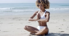 Serene Relaxed Female Yoga Instructor Stock Footage