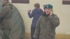 Soldier Takling by Phone Opole Poland Atlantic Resolve Operation Group of Stock Footage
