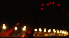 The night of modern beautiful bridge chenges focus to blurred with bokeh Stock Footage