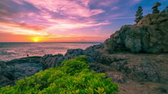 4K TimeLapse. Sunset and pyramid of stones on Phromthep cape at the Phuket Stock Footage