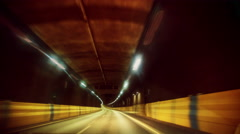 Night drive through colorful tunnel Stock Footage