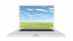 4k Laptop play video of timelapse huge clouds rolling over grassland. Stock Footage