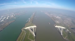 Aerial medium altitude of Maeslantkering Maeslant barrier part of Delta works 4k Stock Footage